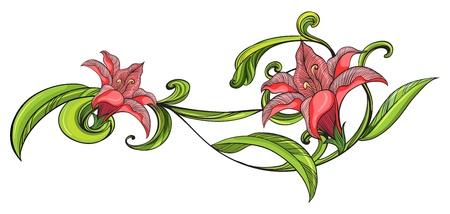 Illustration of a vine flower border on a white background Stock Vector - 17442890