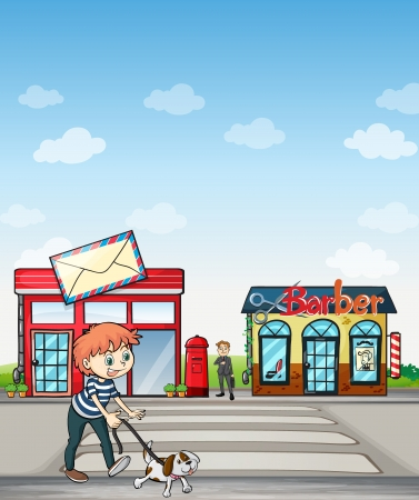 Illustration of a boy walking with his dog Stock Vector - 17443582