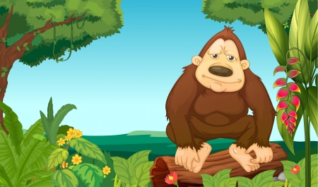 Illustration of a gorilla in the woods Vector