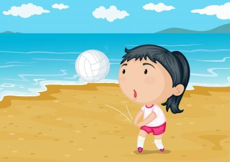 Ilustraci�n de una ni�a jugando a la pelota en la playa