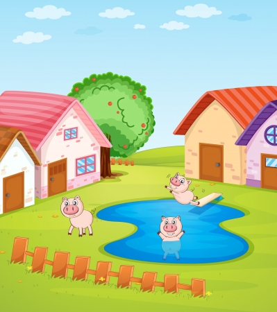 animal shelter: Illustration of pigs and houses Illustration