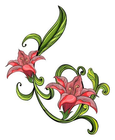 bordures fleurs: Illustration d'une bordure rose et vert sur un fond blanc