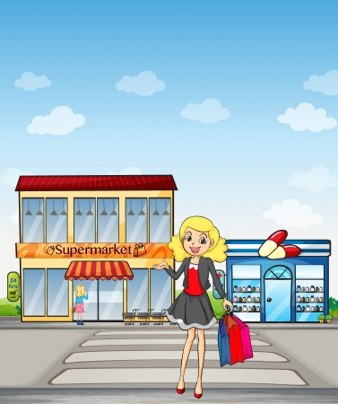 Illustration of a pretty girl shopping