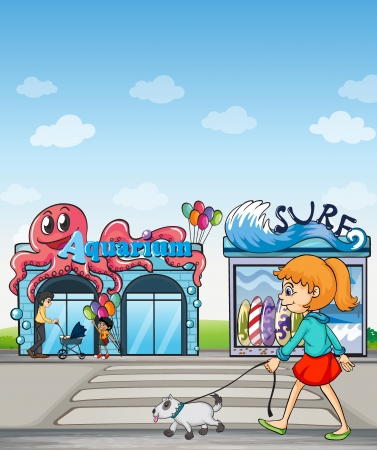 surf shop: Illustration of a young lady and her pet walking in the street