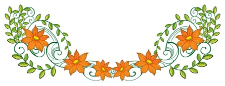 beautification: Illustration of an orange and green border on a white background Illustration
