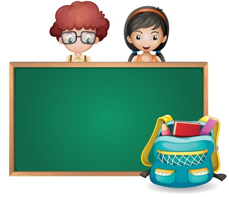 illustration of kids and a green board on a white background Vector