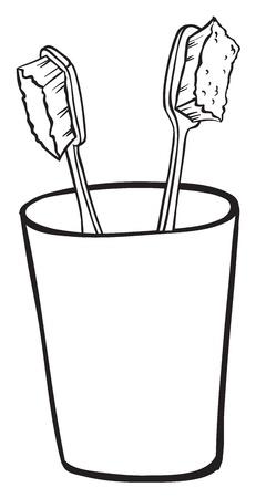 regimen: Illustration of toothbrushes inside a glass on a white background Illustration