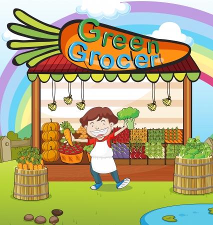clouds cartoon: Ilustraci�n de un hombre y una tienda de verduras