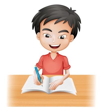 deberes: Ilustración de una escritura del muchacho sonriente sobre un fondo blanco