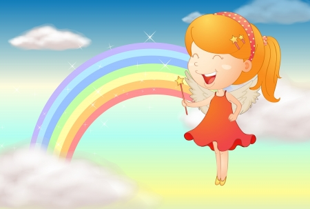 Illustration of an angle girl and a rainbow in a sky Vector