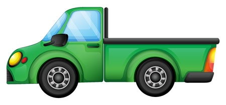 picure: Illustration of a green truck on a white background Illustration