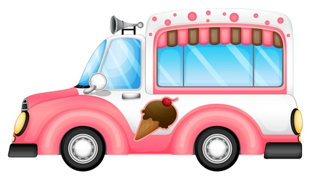 machine shop: Illustration of an ice cream car on a white background