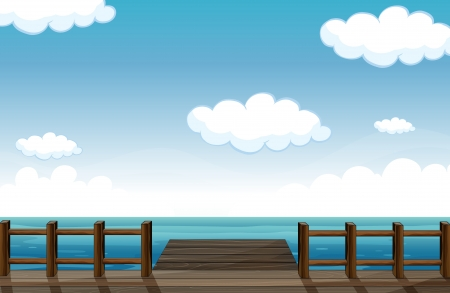 Illustration of a wooden bench and water in a beautiful nature Vector