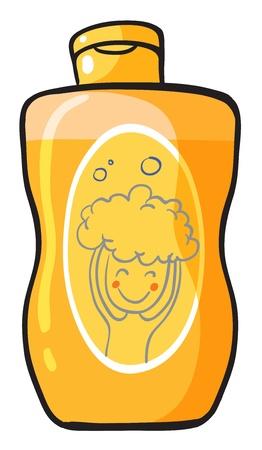 champu: Ilustración de un champú dentro de un contenedor sobre un fondo blanco