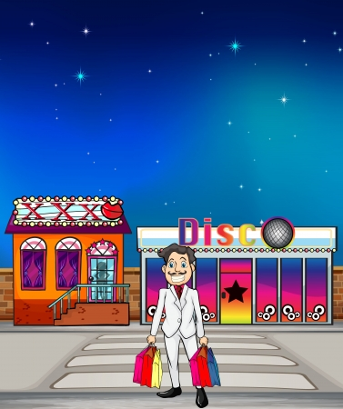 xxx: Illustration of a man and a disc shop and a xxx house