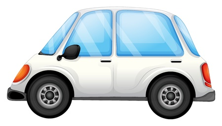 Illustration of a white car on a white background