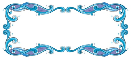 beautification: Illustration of a blue and violet border on a white background Illustration