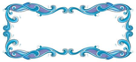 margen: Ilustración de un borde azul y violeta sobre un fondo blanco