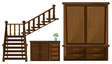 Illustration of a stair and wooden furnitures on a white background