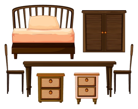 Illustration of furnitures made from woods on a white background Vector