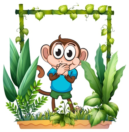 Illustration of a monkey with a blue shirt on a white background Vector