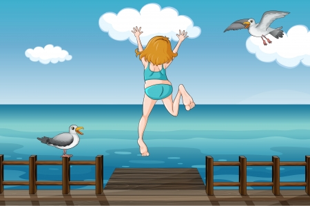 hopping: Illustration of a jumping girl in a water