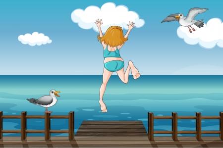gaviota: Ilustración de una niña saltando en el agua