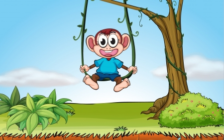 Illustration of a playing monkey in a beautiful nature Vector