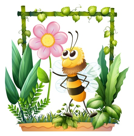 picure: Illustration of a bee holding a pink flower on a white background