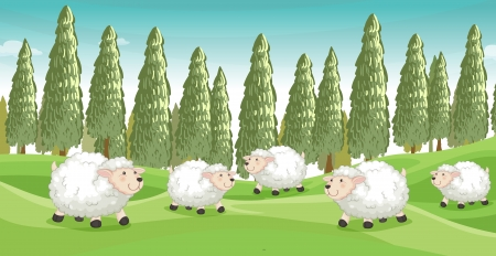 Illustration of smiling sheeps in a beautiful nature Stock Vector - 17443552