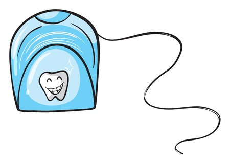 floss: Illustration of a dental floss on white