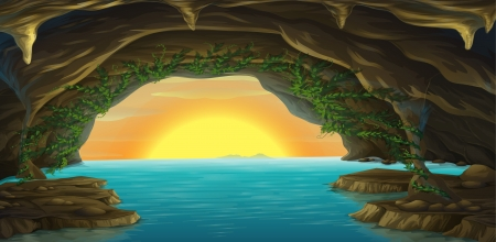 cartoon land: Illustration of a cave and a water in a beautiful nature