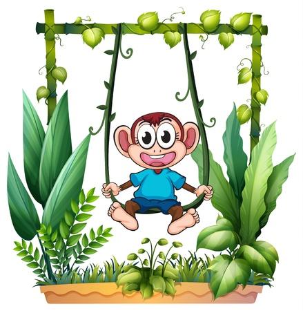 mono caricatura: Illustratin de un mono con una camisa azul sobre un fondo blanco