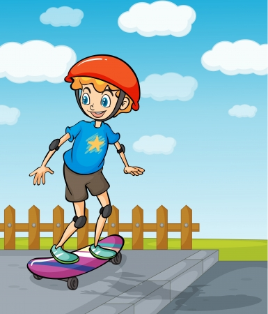 curb: Illustration of a boy playing skatboard in a beautiful nature