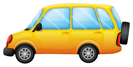 picure: Illustration of a yellow van on a white background