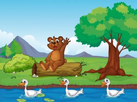 arboles secos: Ilustración de un oso sonriente y patos en una hermosa naturaleza