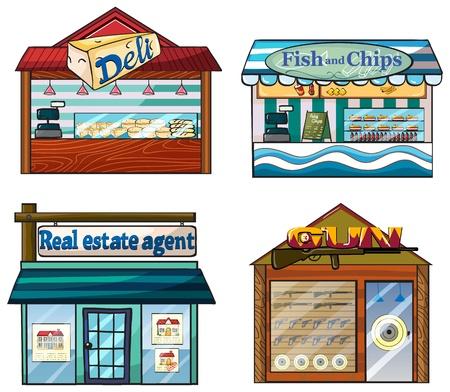 fish store: Ilustraci�n de un conjunto de tiendas