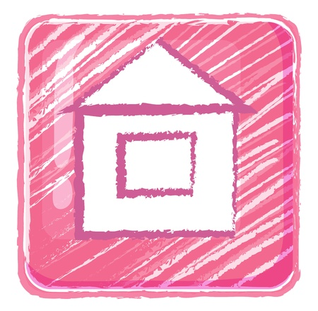 home button: Illustration of a home button icon drawing on a white background