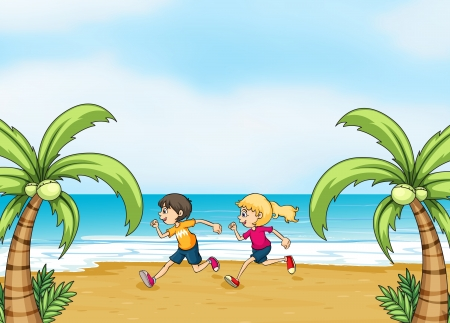 Illustration of kids jogging along the seashore Vector