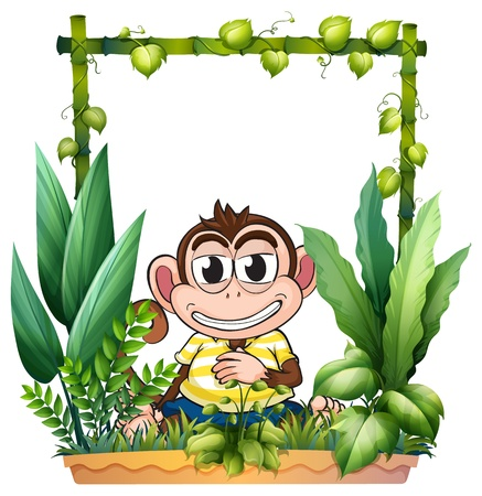Illustration of a monkey smiling on a white background Vector