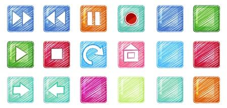 Ilustración de los diferentes iconos de colores sobre un fondo blanco