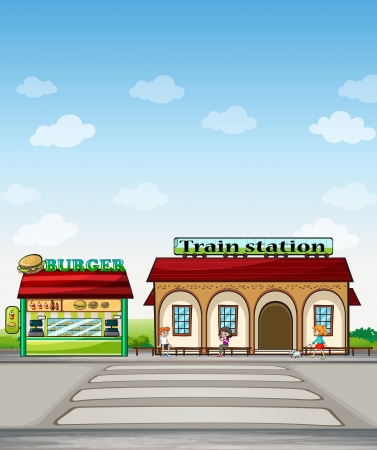 Illustration of a burger junction and a train station Vector