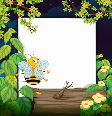 Illustration of a bee and a blank board Stock Vector - 17443621
