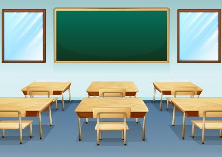 Illustratie van een schoon en leeg klaslokaal