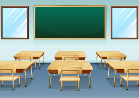 picure: Illustration of a clean and empty classroom