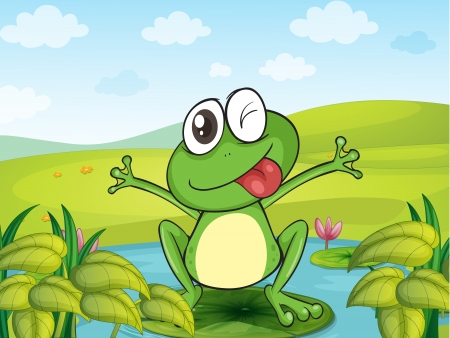 pink hills: Illustration of a smiling frog in a beautiful nature