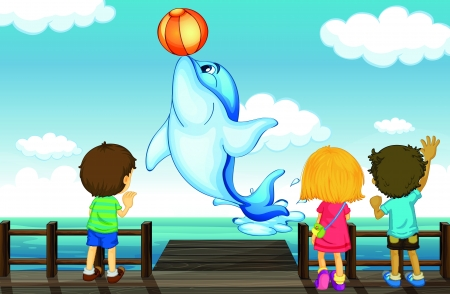 fish in ball: Illustration of kids and dolphin in a beautiful nature Illustration