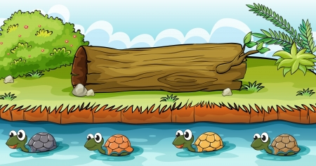 river trunk: Illustration of turtles in the river