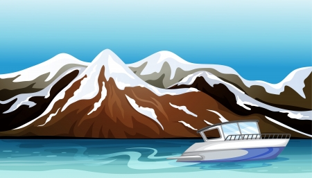 Illustration of a boat, a river and a beautiful mountain Vector