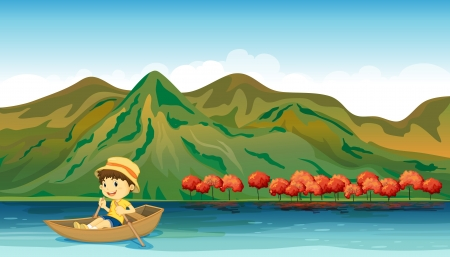 Illustration of a river and a smiling boy in a boat Vector
